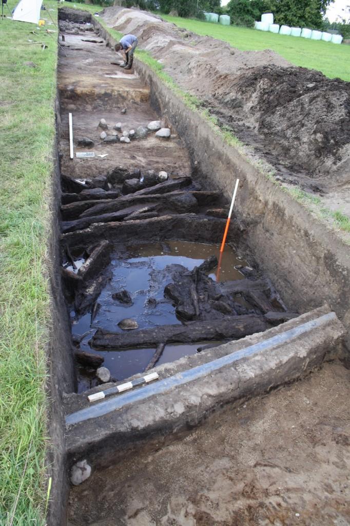 Im Graben fanden sich sich gut erhaltene Hölzer